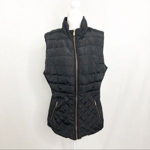 Ci Sono Quilted Fleece Lined Vest, Size XL, Black